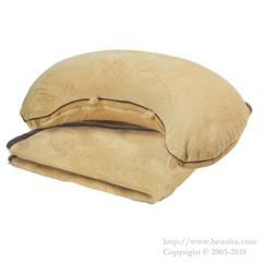 Micro beads Cushion & Touch Blanket Set Brown